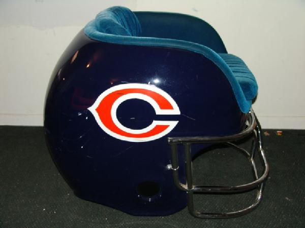 Item # 2 -- Chicago Bears Football Helmet Chair 36  Wide X 34  High X 41  Deep & Lujohns Auctioneers